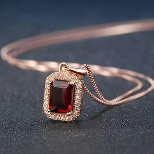 ❤️ Red Garnet&18k Gold Plated Necklace 91001270